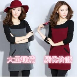 180 wool lining thick plus size dress