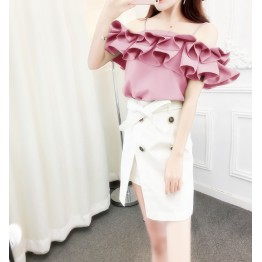 8009 new lotus leaf petals word collar shirt with double-breasted irregular skirt suit