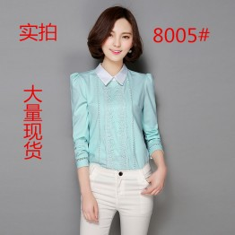 8005 spring slim doll collar lace chiffon shirt