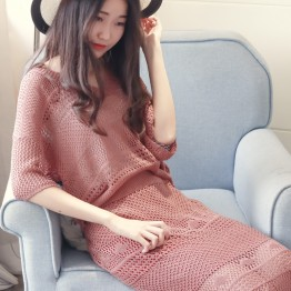 6608 Euramerican fashion yarn knit suit sweater with skirt two sets