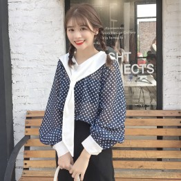 562 Korean fall girl feel the navy collor sunscreen shirt