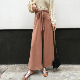 9006 high waist strap wide leg knitted pants