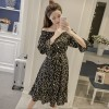 7215 # real shot summer new word shoulder floral chiffon dress in long section with large skirt