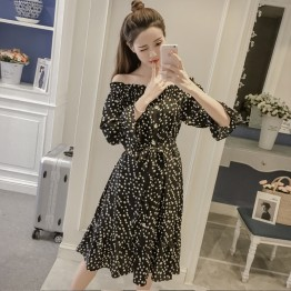7215 boat neck floral chiffon dress
