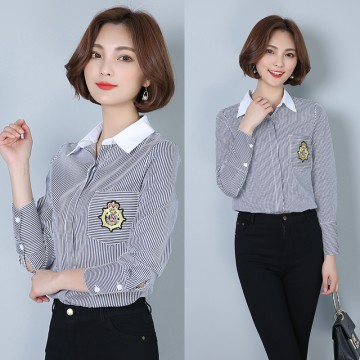 Spring new Korean fashion loose thin vertical striped shirt