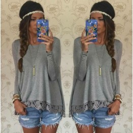 0390 lace hem long sleeve loose T-shirt