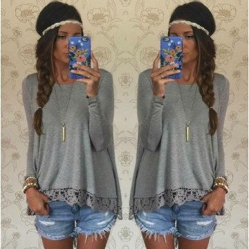 0390 # ebay quick sell through the fall of the new lace hem lace long sleeves primer shirt loose T-shirt