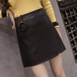 7306 water washing PU leather skirt