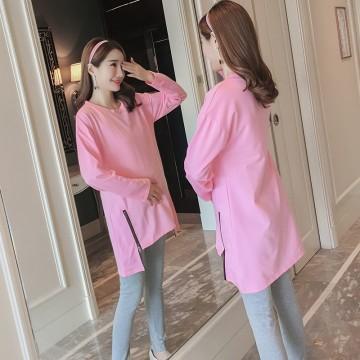 8890 # new maternity dress autumn side zipper sweater + leggings suit