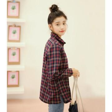 Korean fashion loose retro red plaid shirt female long-sleeved shirt 9152#