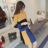 5023 Autumn color matching loose stripes sweater with skirt two pieces
