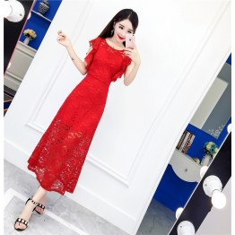 9175 ladies sexy halter transparent lace long fish tail dress