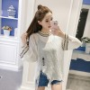 Shirt Knit Sweatshirt Long Sleeve Loose Shirt Short Sleeve Collar Top Blouse 555