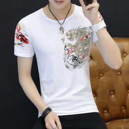 Men's Chinese Fashion Pencil T-Shirt Long Men's Summer Short Sleeve T Blood Korean Half-Sleeve T-Shirt 9120
