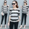 6091 Hollow long-sleeved lace spring and autumn short thin bottom shirt slim blouse