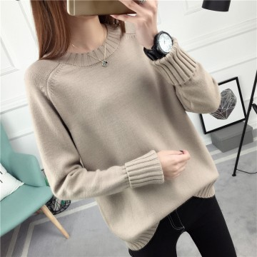 1021 # autumn and winter new loose round neck collar sweater female autumn winter Korean long-sleeved sweater