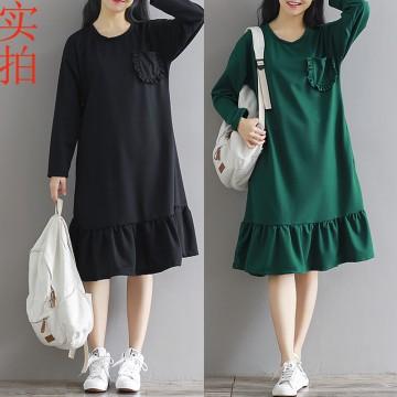 8267 Autumn retro long sleeves round neck knit dress