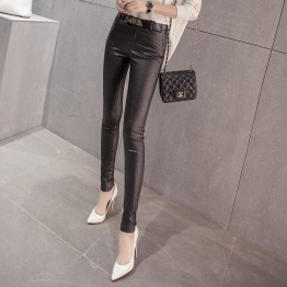 8805 # flash leather autumn and winter high waist leggings