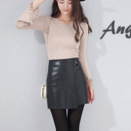 583 high waist Black leather half skirt