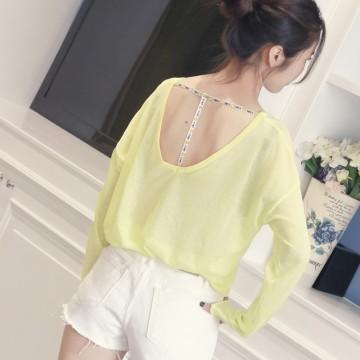 Korean fashion loose solid color T-shirt halter sweater ice silk shirt 6606 #