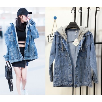 Spot 2017 Yang Mi with the paragraph Wu Yifan with the airport denim jacket oversize hooded lovers men and women