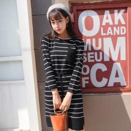 849 Korean slim pocket stripes knitting dress