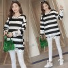 9033 # 2017 new maternity dress autumn striped lace sweater pregnant women coat