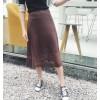 6149 early autumn high waist slim thin knitted ice silk half umbrella skirt