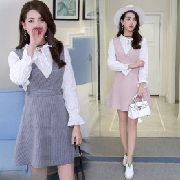 6807 stripes strap V collar dress with temperament long sleeves shirt