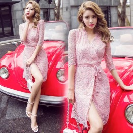 7095 summer temperament lace slim waist sexy V-neck lacing bow tie dress