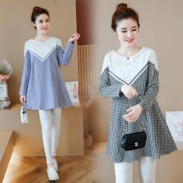 8072 autumn fashion models long-sleeved loose long mertanity dress