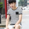 Summer men's short sleeve T-shirt Korean version of the Slim collar collar t-shirt men's clothing half-sleeved men's clothing tide 6302