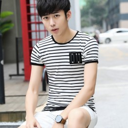 6302 Summer men's stripes short sleeve T-shirt