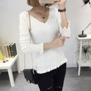 8075 # autumn and winter new women Korean version of the V-neck sweater women's shirt shirt sets of sexy Slim thin sweater