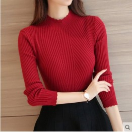 Women short autumn and winter Korean women's lotus leaf Slim long-sleeved bottom shirt sweater