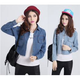6215 autumn and winter Korea washed retro bat sleeve denim jacket