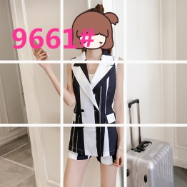 9667 wide stripes vest with shorts