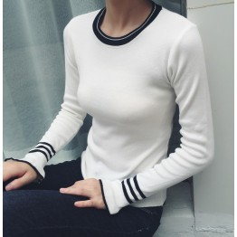 6139 Korean fashion slim stripe trumpet sleeves women's sweater