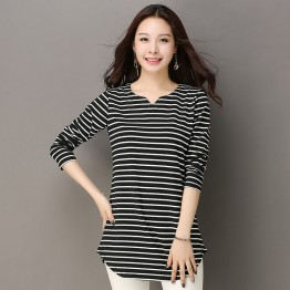6036 plus size stripes bottoming t-shirt