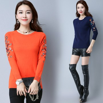 1878 autumn and winter embroidery long sleeve short backing sweater