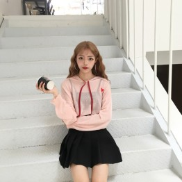 998 fashion love embroidery spell tie hooded thin knit tops