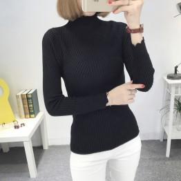 8079 slim high collar base sweater
