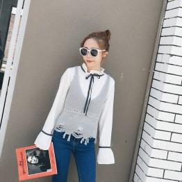 513 Fall Tassel Hollow Sling Short Sleeve Knit Sweater