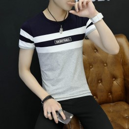 3036 men's short sleeve round neck tattoo print t-shirt