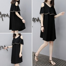 1077-1 Korean fashion off shoulder maternity casual chiffon dress