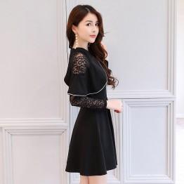 2632 autumn new high collar cloak lace dress