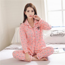 615 # autumn and winter long-sleeved pajamas shirt + long two-piece white cat double knit cotton home clothing suit