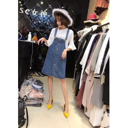 4319 front button design denim dress with hollow fashion white shirt two pieces