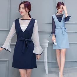 7082 # real shot Korean ladies chiffon blouse + strap dress two sets of fashion suit women