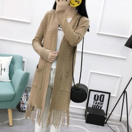 8001 autumn and winter pure color twist loose tassel pocket knitted sweater cardigan coat